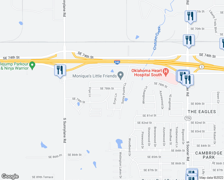 map of restaurants, bars, coffee shops, grocery stores, and more near 4704 Southeast 78th Street in Oklahoma City