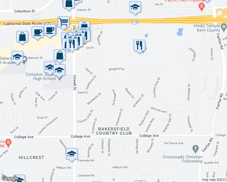 map of restaurants, bars, coffee shops, grocery stores, and more near Country Club Drive in Bakersfield