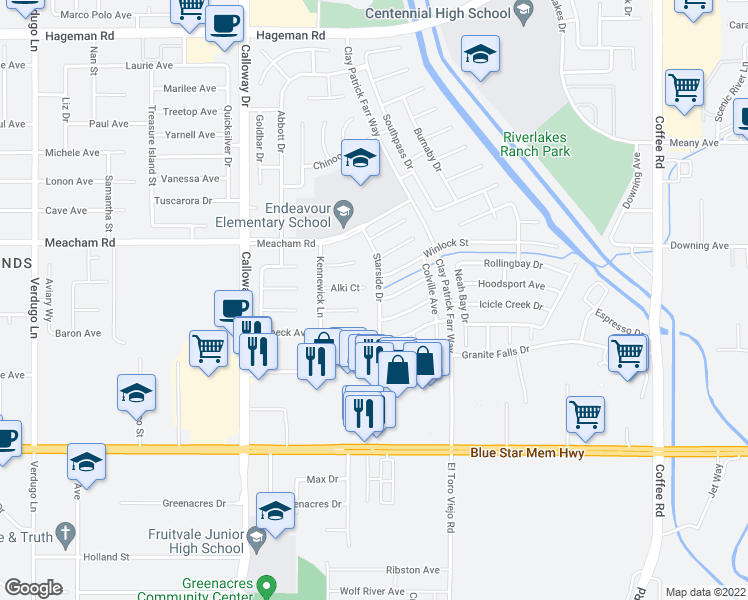 map of restaurants, bars, coffee shops, grocery stores, and more near 3119 Starside Drive in Bakersfield