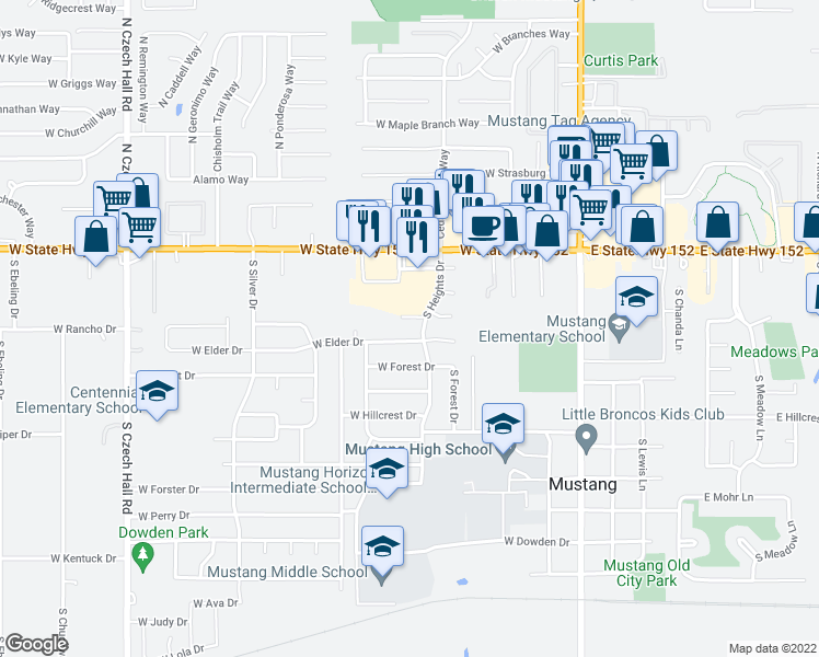 map of restaurants, bars, coffee shops, grocery stores, and more near 361 North Pebble Creek Terrace in Mustang