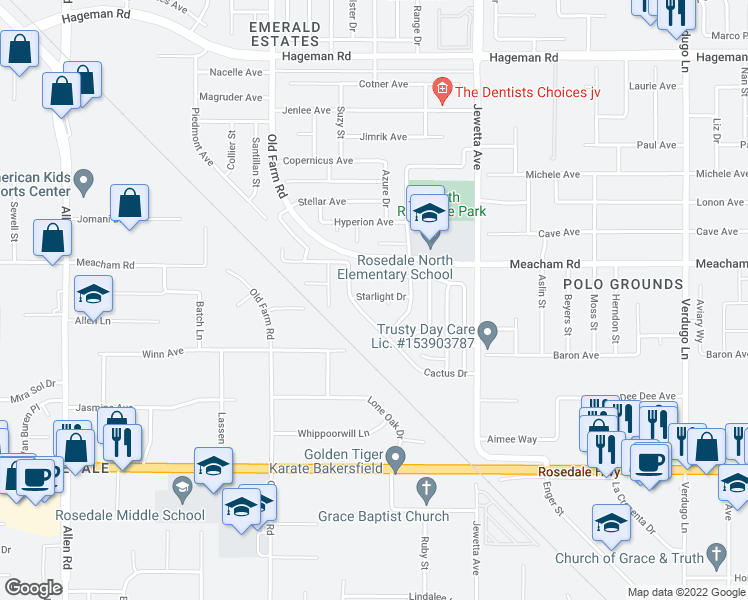 map of restaurants, bars, coffee shops, grocery stores, and more near 11713 Starlight Dr in Bakersfield