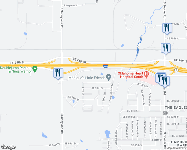 map of restaurants, bars, coffee shops, grocery stores, and more near 4800 East Interstate 240 Service Road in Oklahoma City