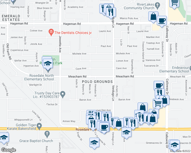map of restaurants, bars, coffee shops, grocery stores, and more near Meacham Road in Bakersfield