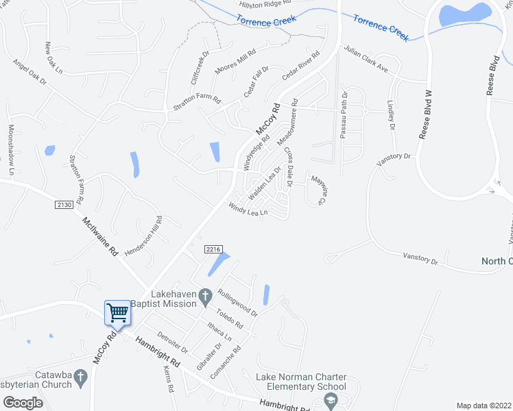 map of restaurants, bars, coffee shops, grocery stores, and more near 12307 Cross Meadow Road in Huntersville
