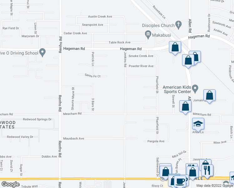 map of restaurants, bars, coffee shops, grocery stores, and more near 3611 Jenkins Road in Bakersfield