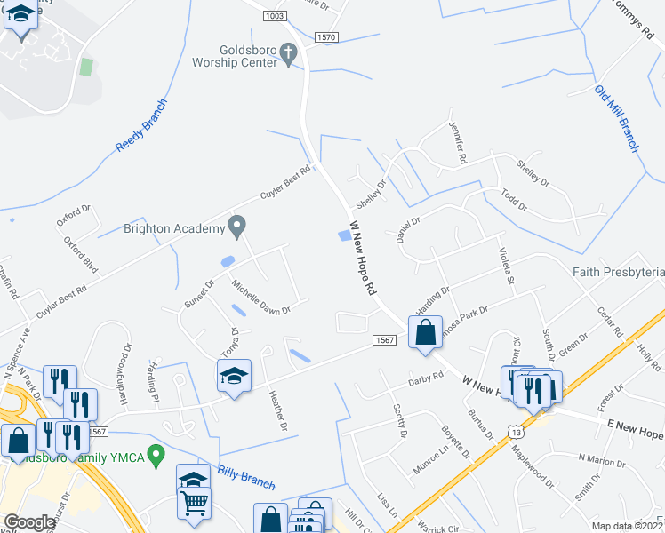 map of restaurants, bars, coffee shops, grocery stores, and more near 560 West New Hope Road in Goldsboro
