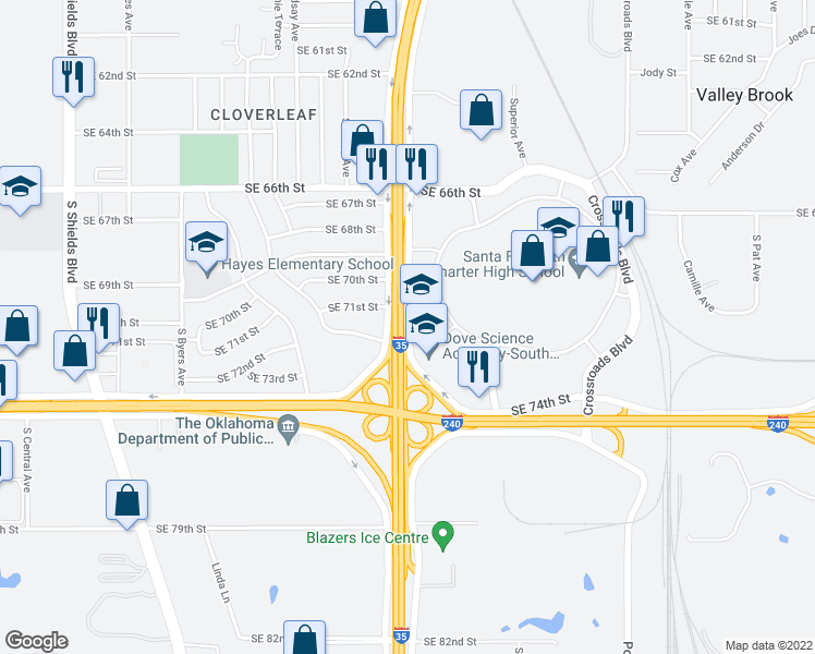 map of restaurants, bars, coffee shops, grocery stores, and more near Crossroads Access Road in Oklahoma City