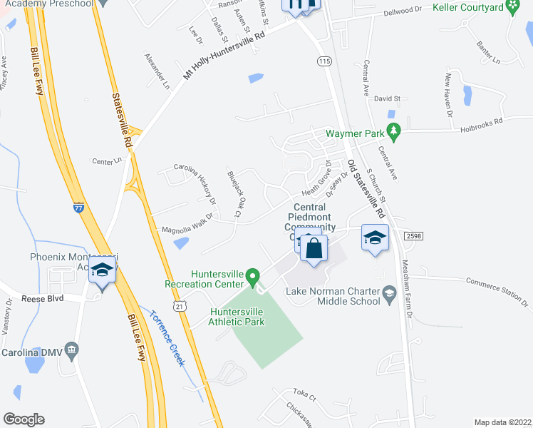 map of restaurants, bars, coffee shops, grocery stores, and more near 12710 Heath Grove Drive in Huntersville