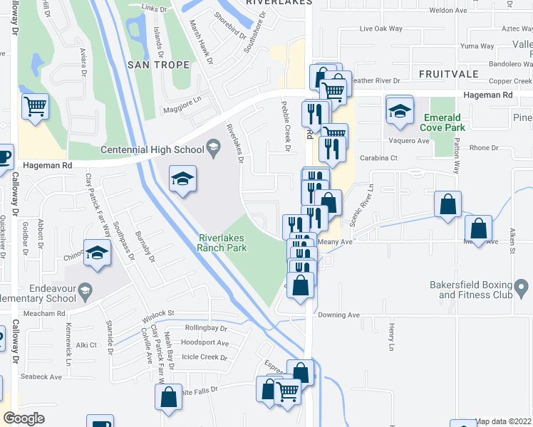 map of restaurants, bars, coffee shops, grocery stores, and more near 3900 Riverlakes Drive in Bakersfield