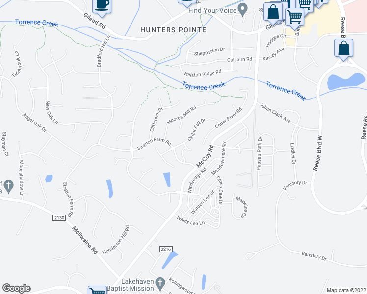 map of restaurants, bars, coffee shops, grocery stores, and more near 9408 Holly Bend Lane in Huntersville
