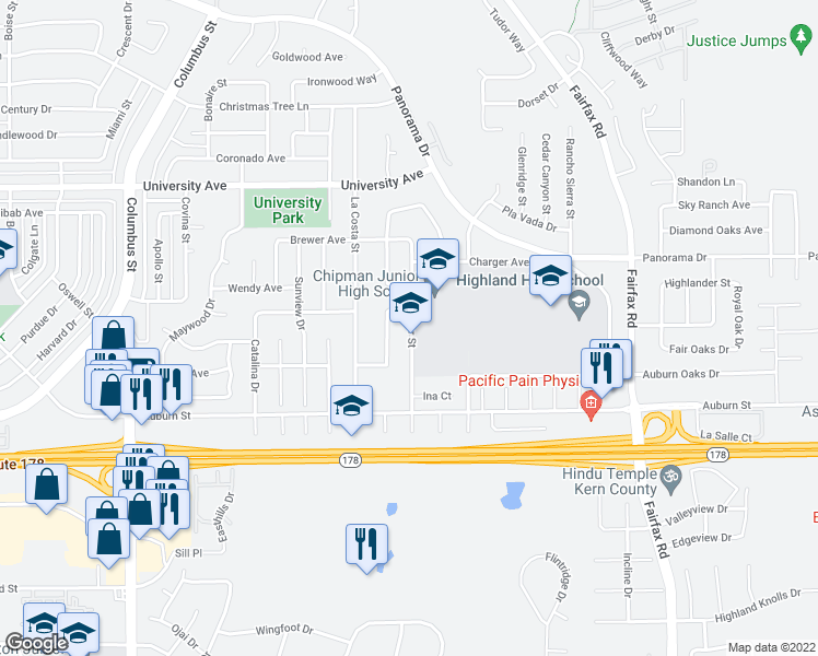 map of restaurants, bars, coffee shops, grocery stores, and more near Eissler St in Bakersfield