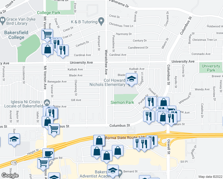 map of restaurants, bars, coffee shops, grocery stores, and more near 3112 Pasadena Street in Bakersfield