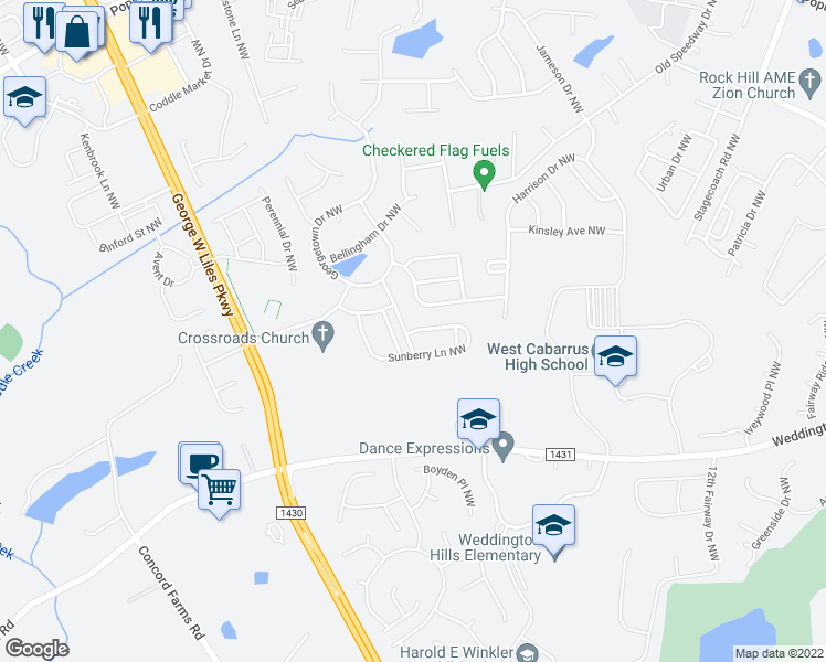 map of restaurants, bars, coffee shops, grocery stores, and more near Sunberry Lane Northwest in Concord