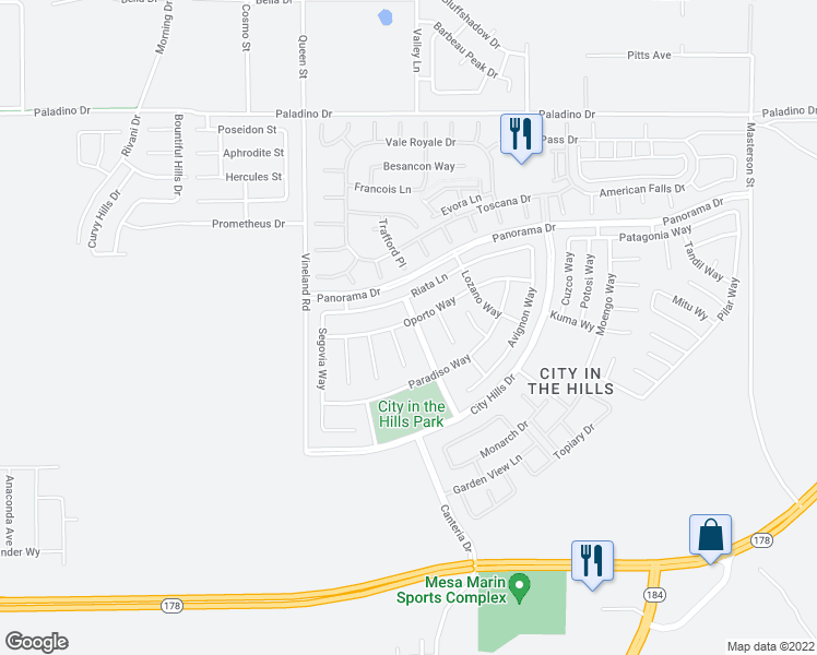 map of restaurants, bars, coffee shops, grocery stores, and more near 5714 Cordonata Way in Bakersfield