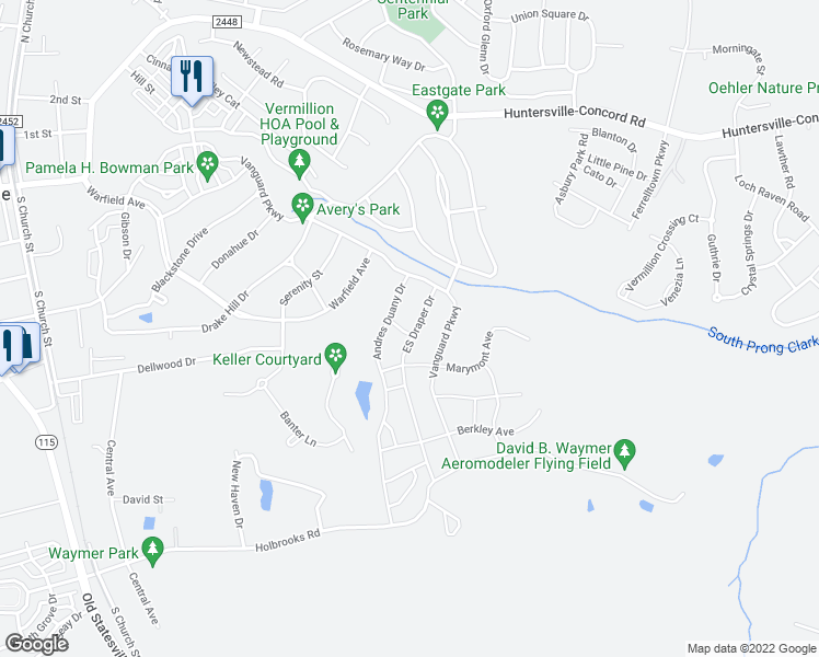 map of restaurants, bars, coffee shops, grocery stores, and more near 12436 ES Draper Drive in Huntersville