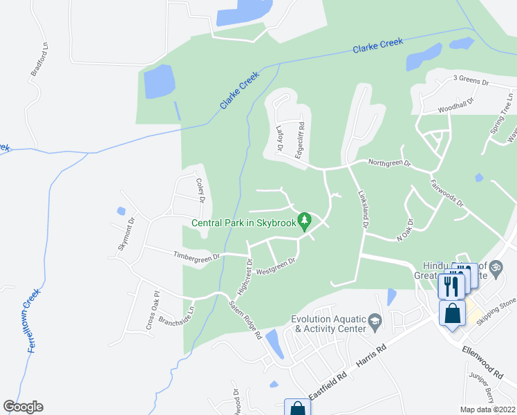 map of restaurants, bars, coffee shops, grocery stores, and more near 9629 Sunset Grove Drive in Huntersville