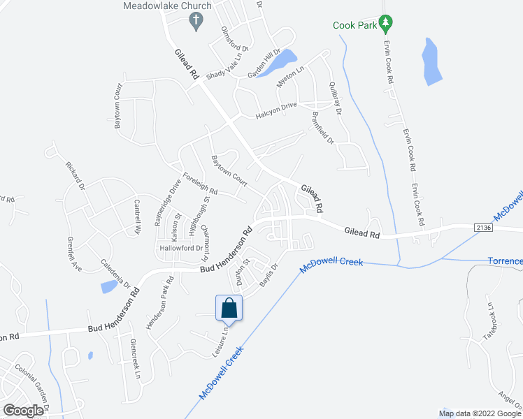 map of restaurants, bars, coffee shops, grocery stores, and more near 8110 Old Bud Henderson Road in Huntersville