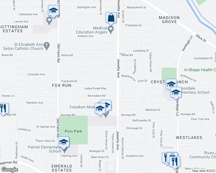 map of restaurants, bars, coffee shops, grocery stores, and more near 11418 Valley Forge Way in Bakersfield