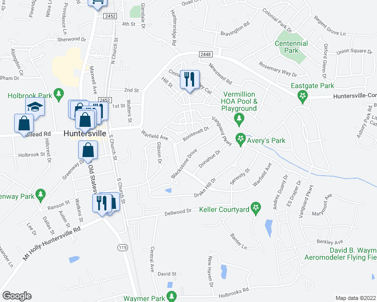 map of restaurants, bars, coffee shops, grocery stores, and more near 10327 Blackstone Drive in Huntersville