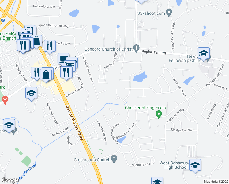 map of restaurants, bars, coffee shops, grocery stores, and more near 703 Georgetown Drive Northwest in Concord
