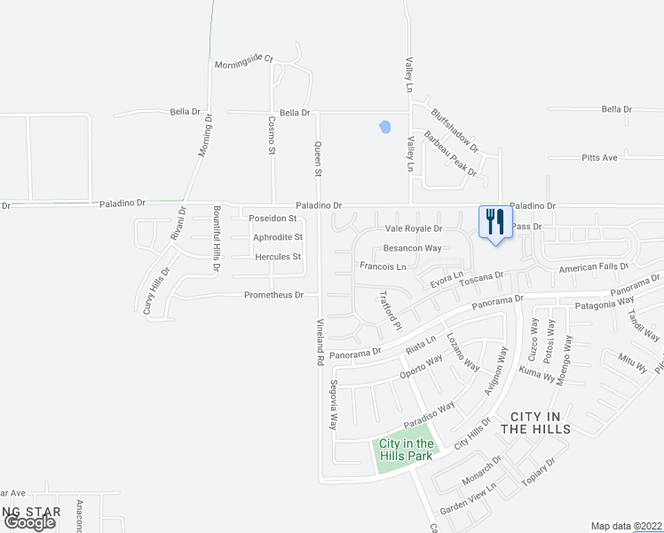 map of restaurants, bars, coffee shops, grocery stores, and more near 9708 Kingsport Place in Bakersfield
