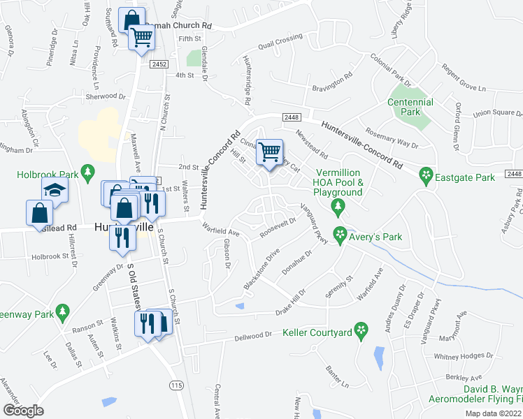 map of restaurants, bars, coffee shops, grocery stores, and more near 10116 Vanguard Parkway in Huntersville