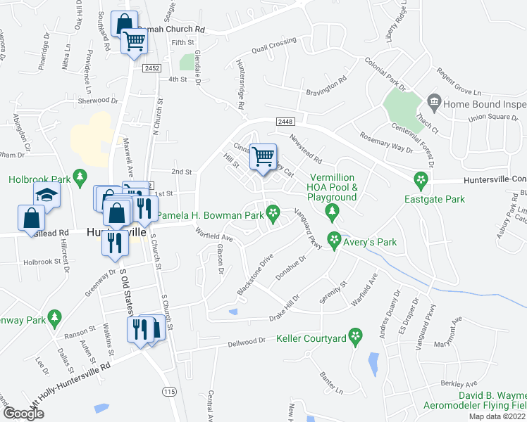 map of restaurants, bars, coffee shops, grocery stores, and more near 13725 Cinnabar Place in Huntersville