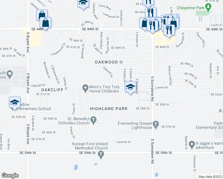 map of restaurants, bars, coffee shops, grocery stores, and more near 3728 Southeast 51st Street in Oklahoma City