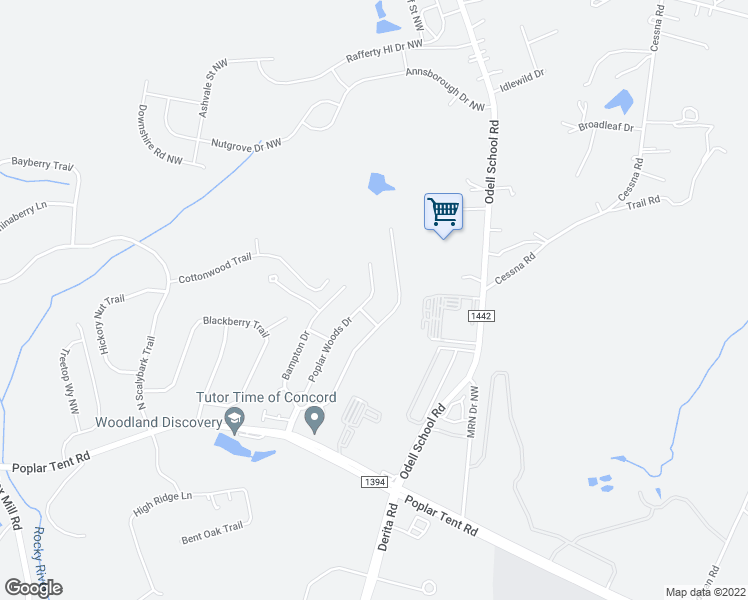 map of restaurants, bars, coffee shops, grocery stores, and more near 126 Poplar Woods Drive in Concord