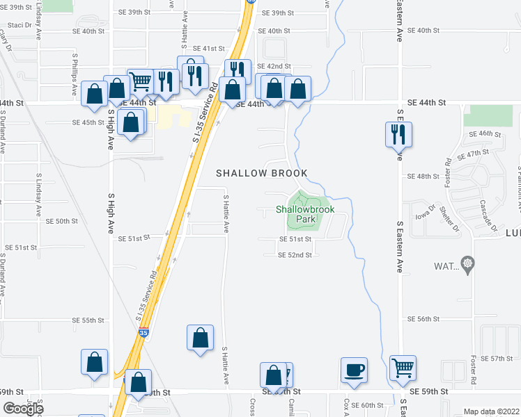 map of restaurants, bars, coffee shops, grocery stores, and more near 5004 South Deborah Drive in Oklahoma City