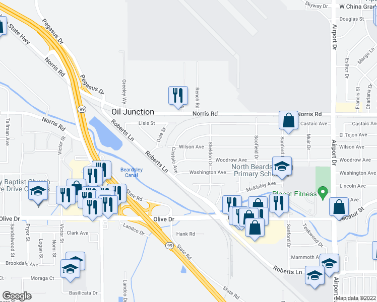 map of restaurants, bars, coffee shops, grocery stores, and more near 1319 Wilson Avenue in Bakersfield