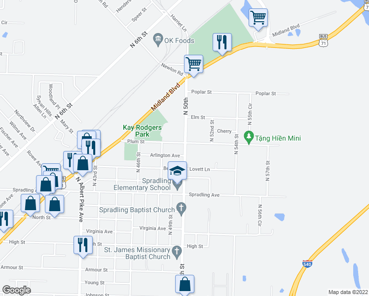 map of restaurants, bars, coffee shops, grocery stores, and more near 4014 North 50th Street in Fort Smith