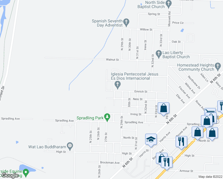 map of restaurants, bars, coffee shops, grocery stores, and more near 4110 Walnut Park Drive in Fort Smith