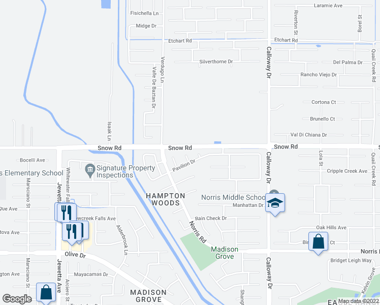 map of restaurants, bars, coffee shops, grocery stores, and more near 7304 Stella Court in Bakersfield