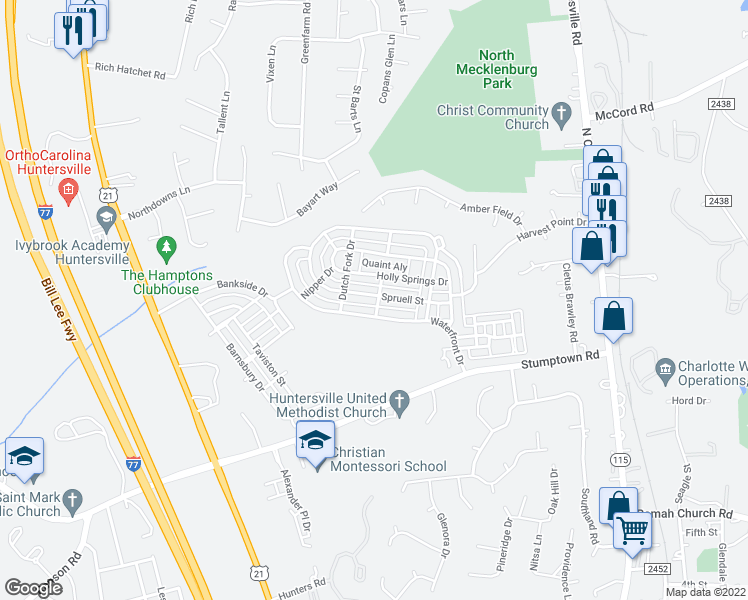 map of restaurants, bars, coffee shops, grocery stores, and more near 16642 Spruell Street in Huntersville