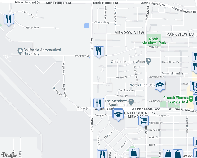 map of restaurants, bars, coffee shops, grocery stores, and more near 840 Park Meadows Avenue in Bakersfield