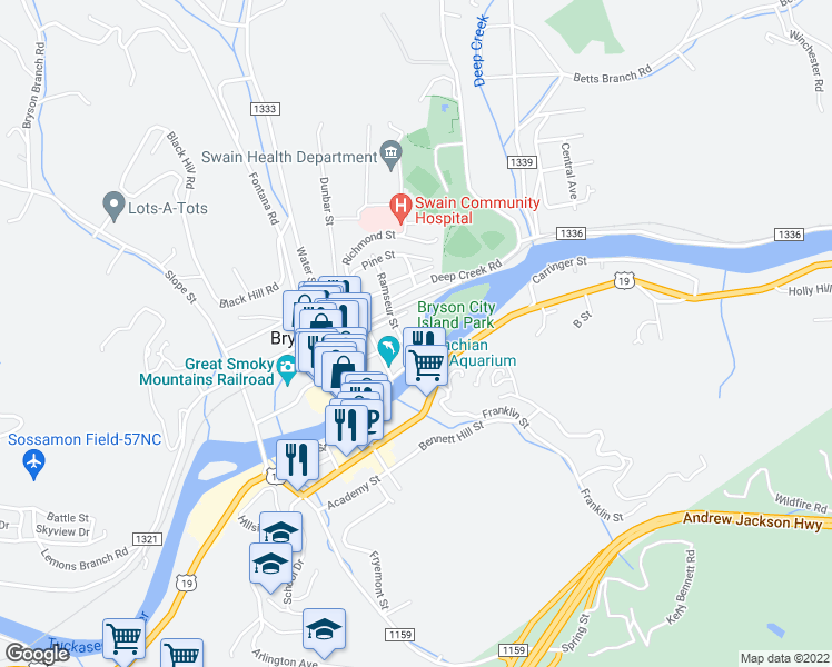 map of restaurants, bars, coffee shops, grocery stores, and more near in Bryson City
