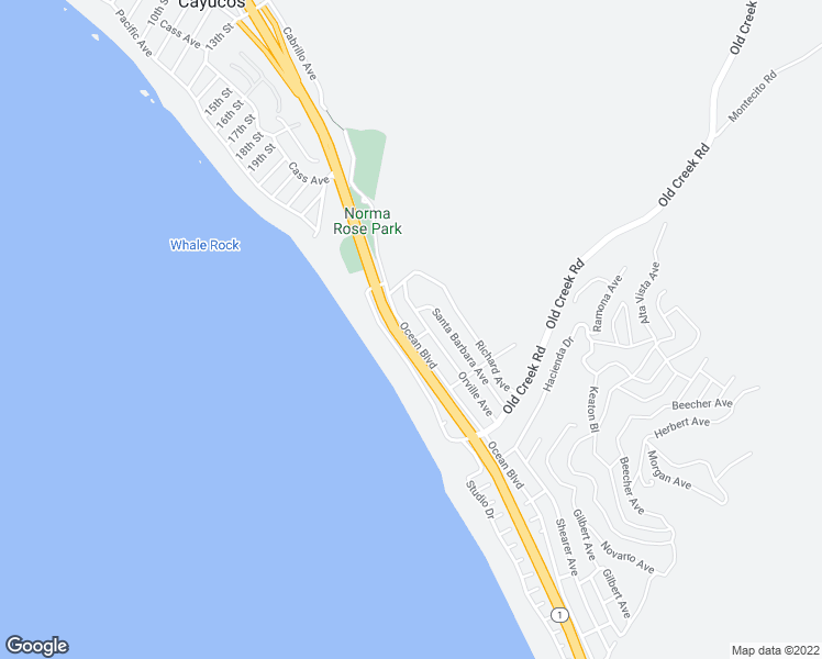 map of restaurants, bars, coffee shops, grocery stores, and more near 2691 Ocean Blvd in Cayucos