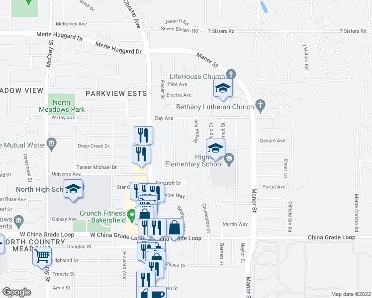 map of restaurants, bars, coffee shops, grocery stores, and more near 2925 Morse Court in Bakersfield