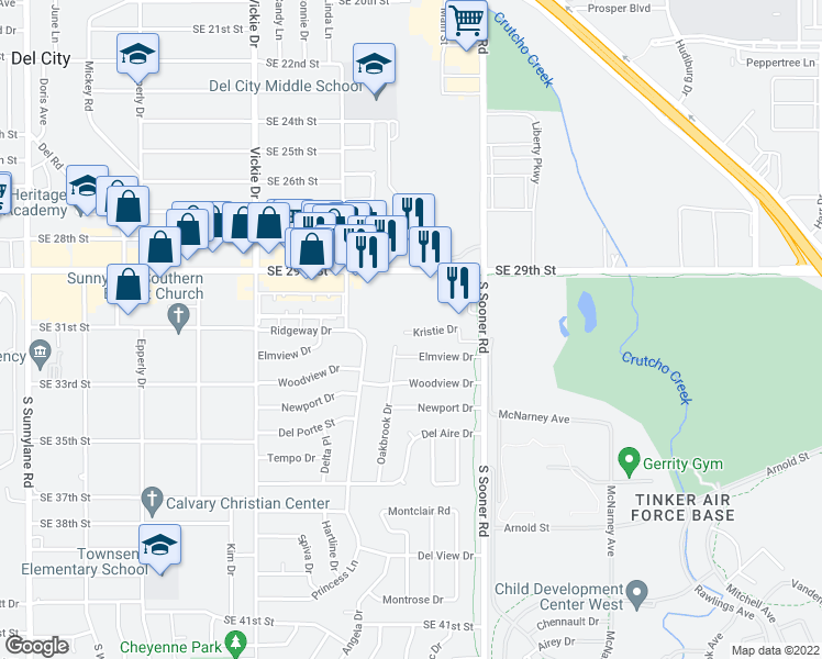 map of restaurants, bars, coffee shops, grocery stores, and more near 4807 Kristie Drive in Oklahoma City