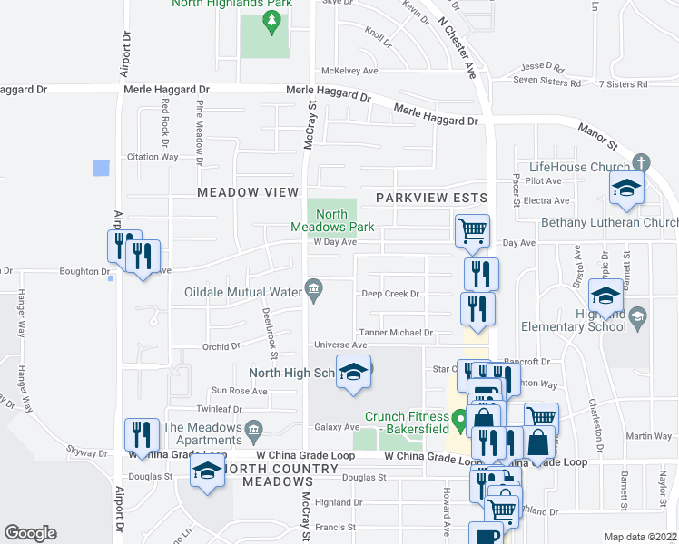 map of restaurants, bars, coffee shops, grocery stores, and more near 412 Dry Meadow Lane in Bakersfield