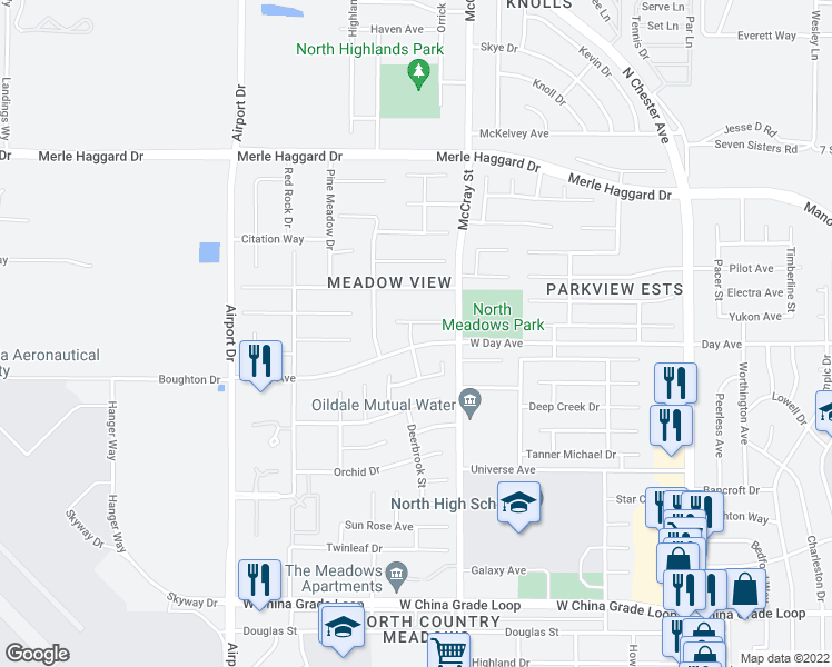 map of restaurants, bars, coffee shops, grocery stores, and more near 549 Yellow Meadow Court in Bakersfield