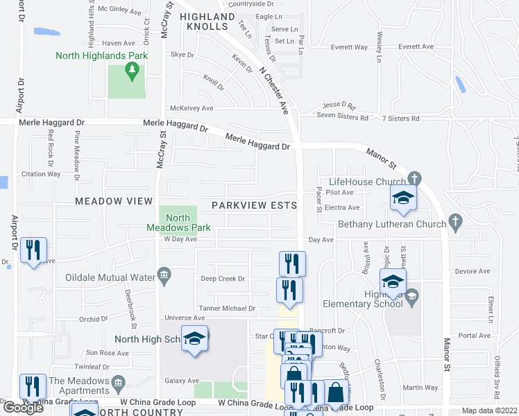map of restaurants, bars, coffee shops, grocery stores, and more near 218 Misty Meadow Drive in Bakersfield