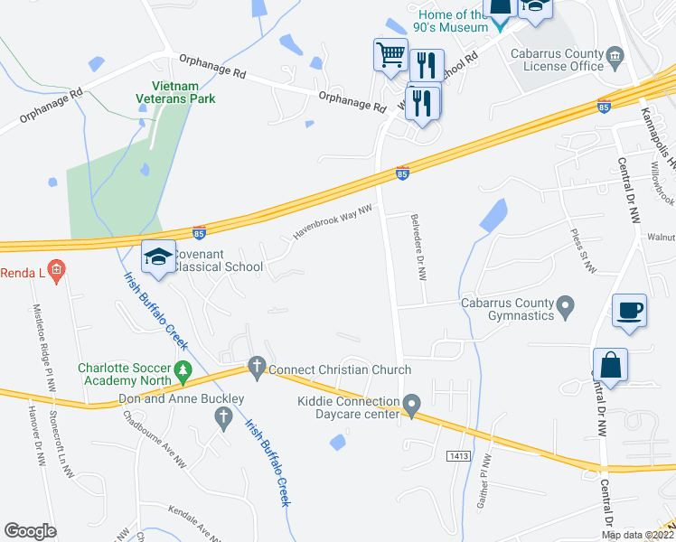 map of restaurants, bars, coffee shops, grocery stores, and more near Ray Suggs Place Northwest in Concord