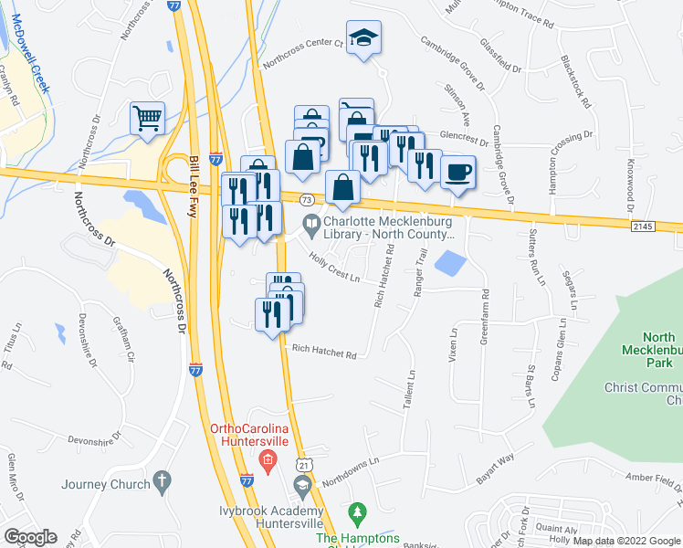 map of restaurants, bars, coffee shops, grocery stores, and more near 16408 Holly Crest Lane in Huntersville
