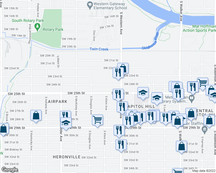 map of restaurants, bars, coffee shops, grocery stores, and more near 940 Southwest 24th Street in Oklahoma City