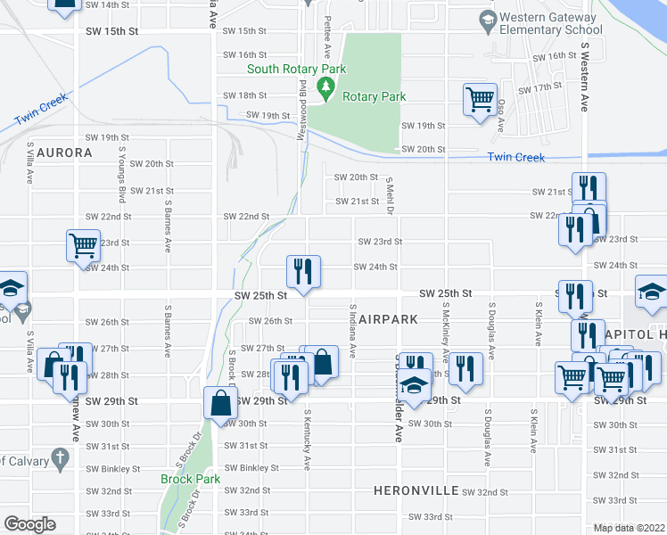 map of restaurants, bars, coffee shops, grocery stores, and more near 1418 Southwest 24th Street in Oklahoma City