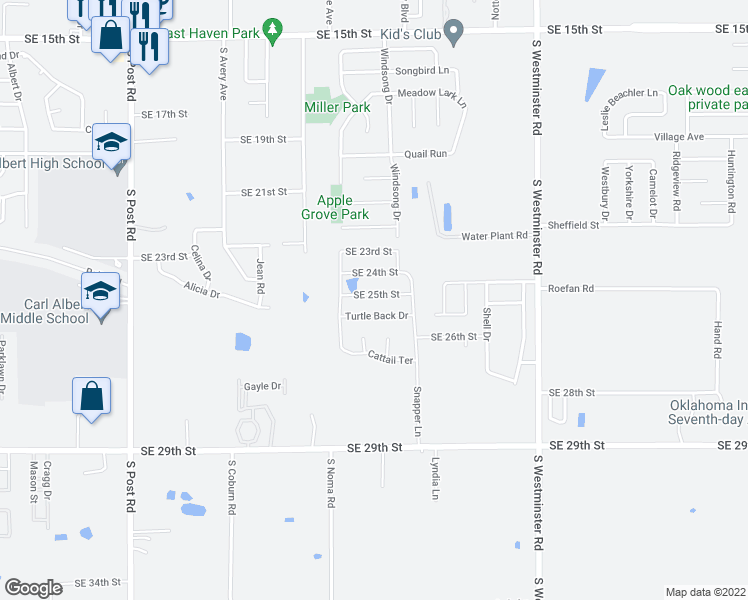 map of restaurants, bars, coffee shops, grocery stores, and more near 10408 Southeast 25th Street in Midwest City
