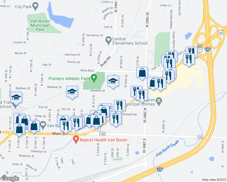 map of restaurants, bars, coffee shops, grocery stores, and more near 510 North 24th Street in Van Buren