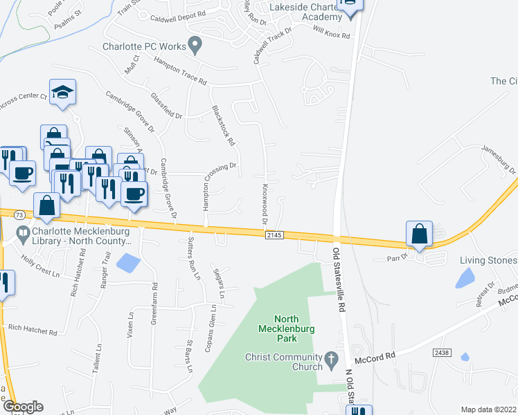 map of restaurants, bars, coffee shops, grocery stores, and more near 16841 Knoxwood Drive in Huntersville